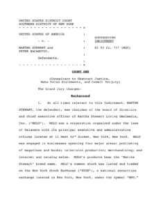 Martha Stewart indictment for false statement