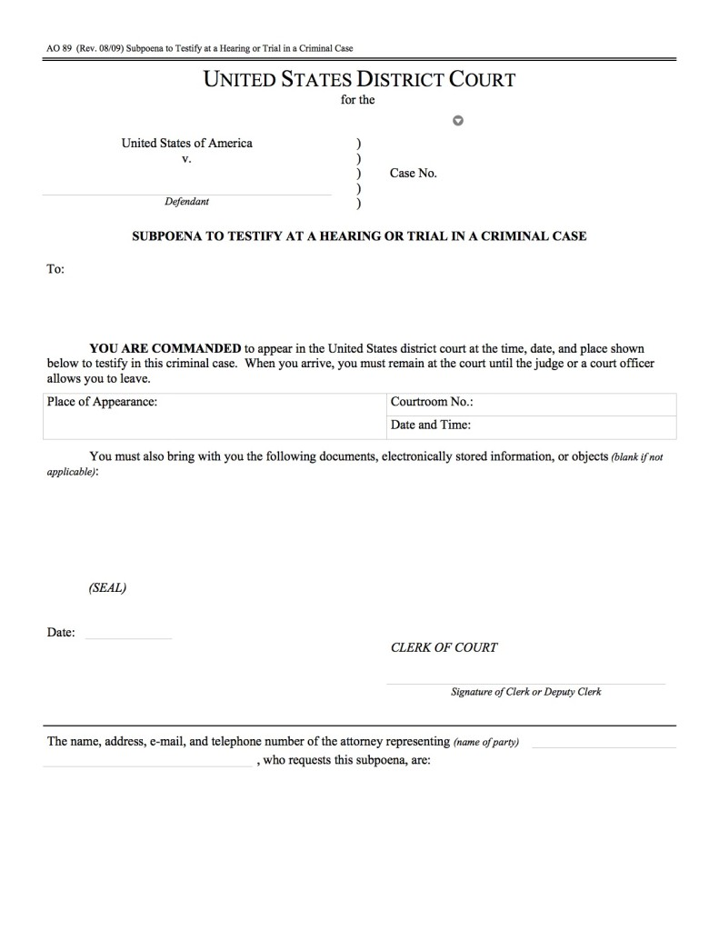 Example of a federal criminal subpoena