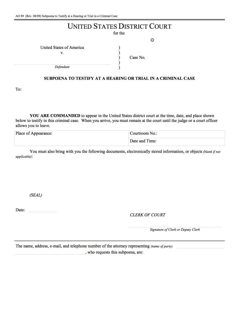 Example of a federal criminal subpoena