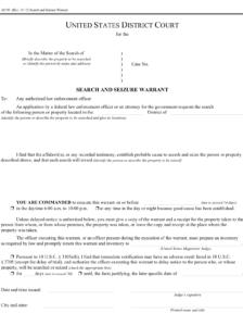 A blank federak search warrant